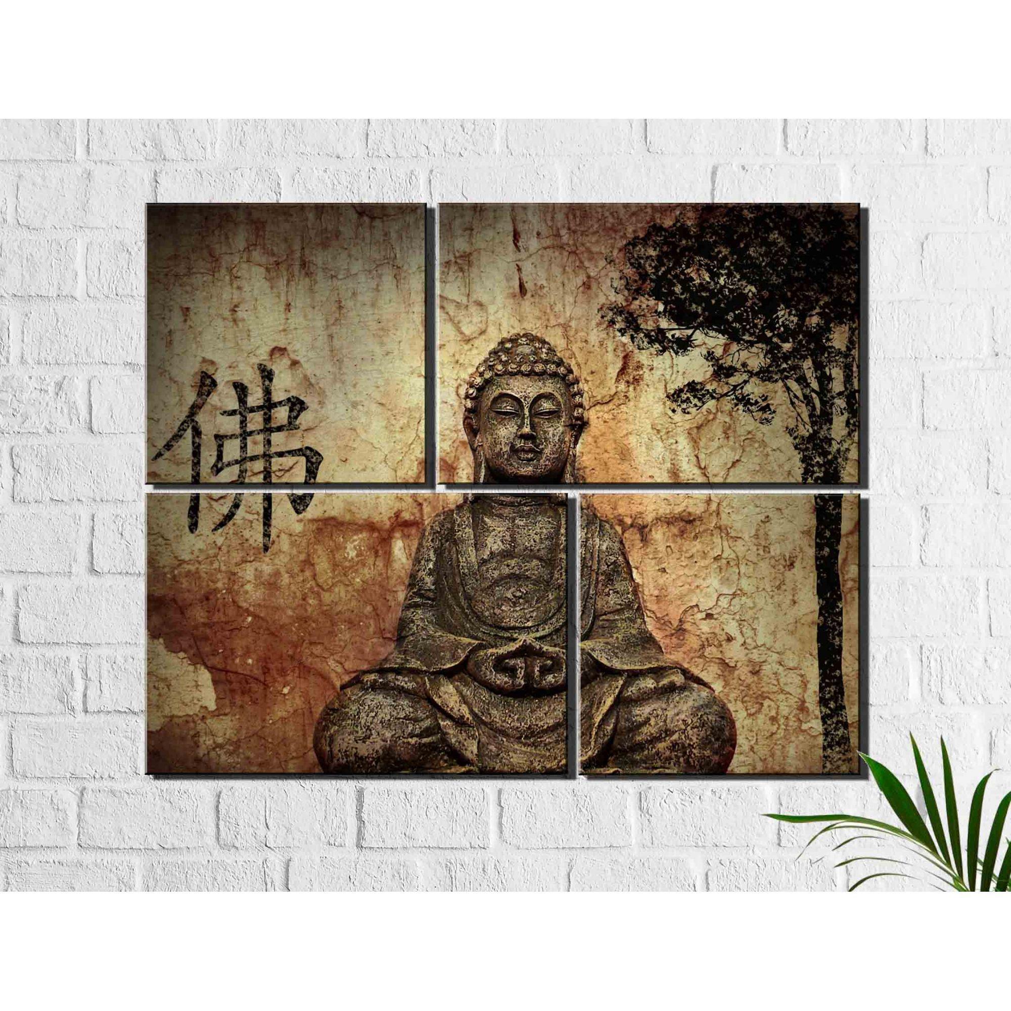 4 Quadros Decorativos Buda Para Sala