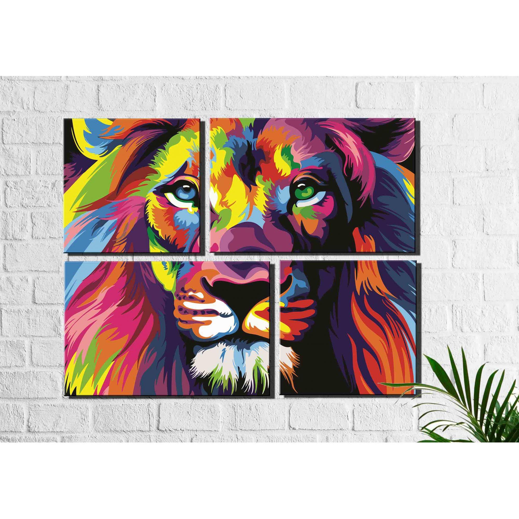 4 Quadros Decorativos Leão Moderno Colorido