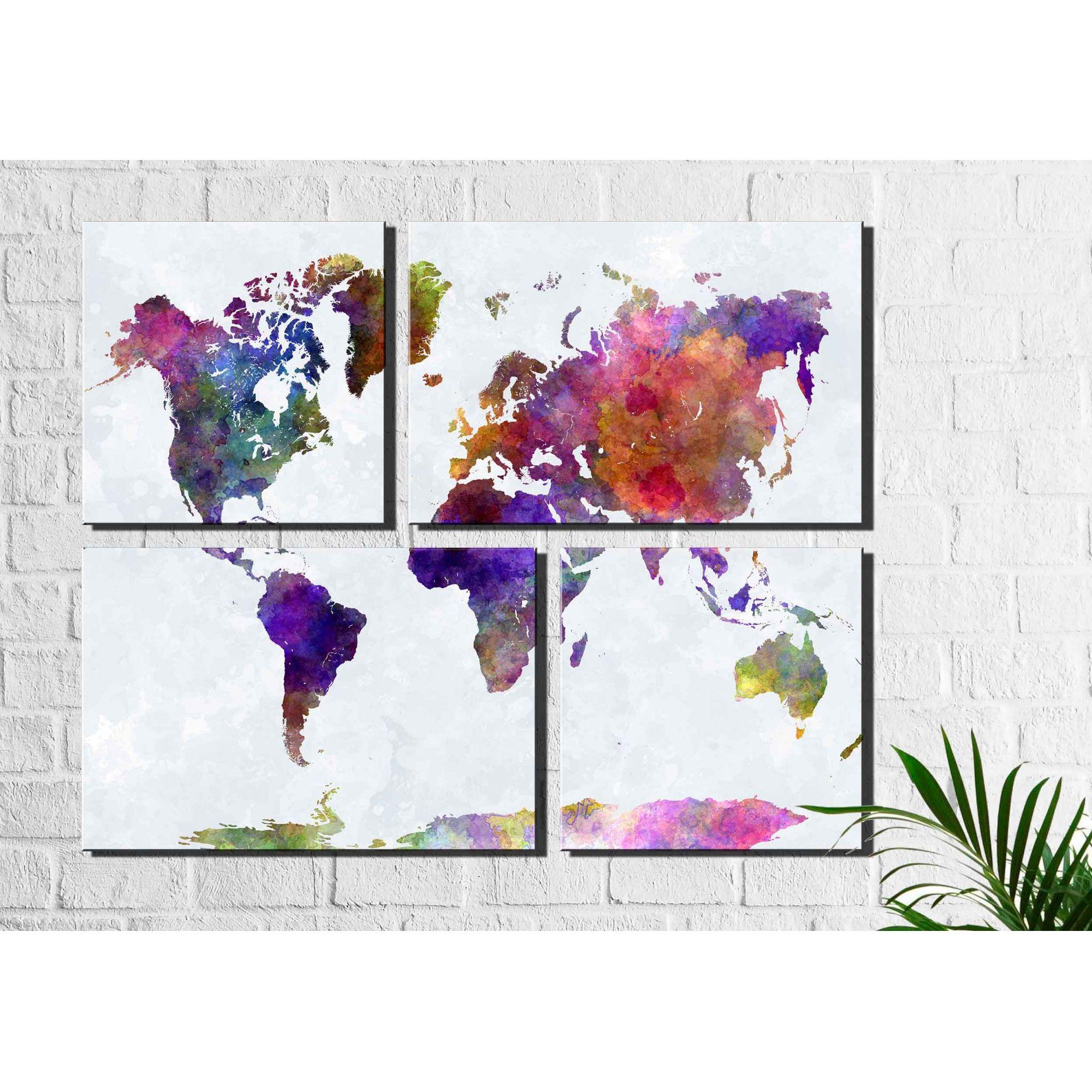 4 Quadros Decorativos Mapa Mundi Colorido Aquarela