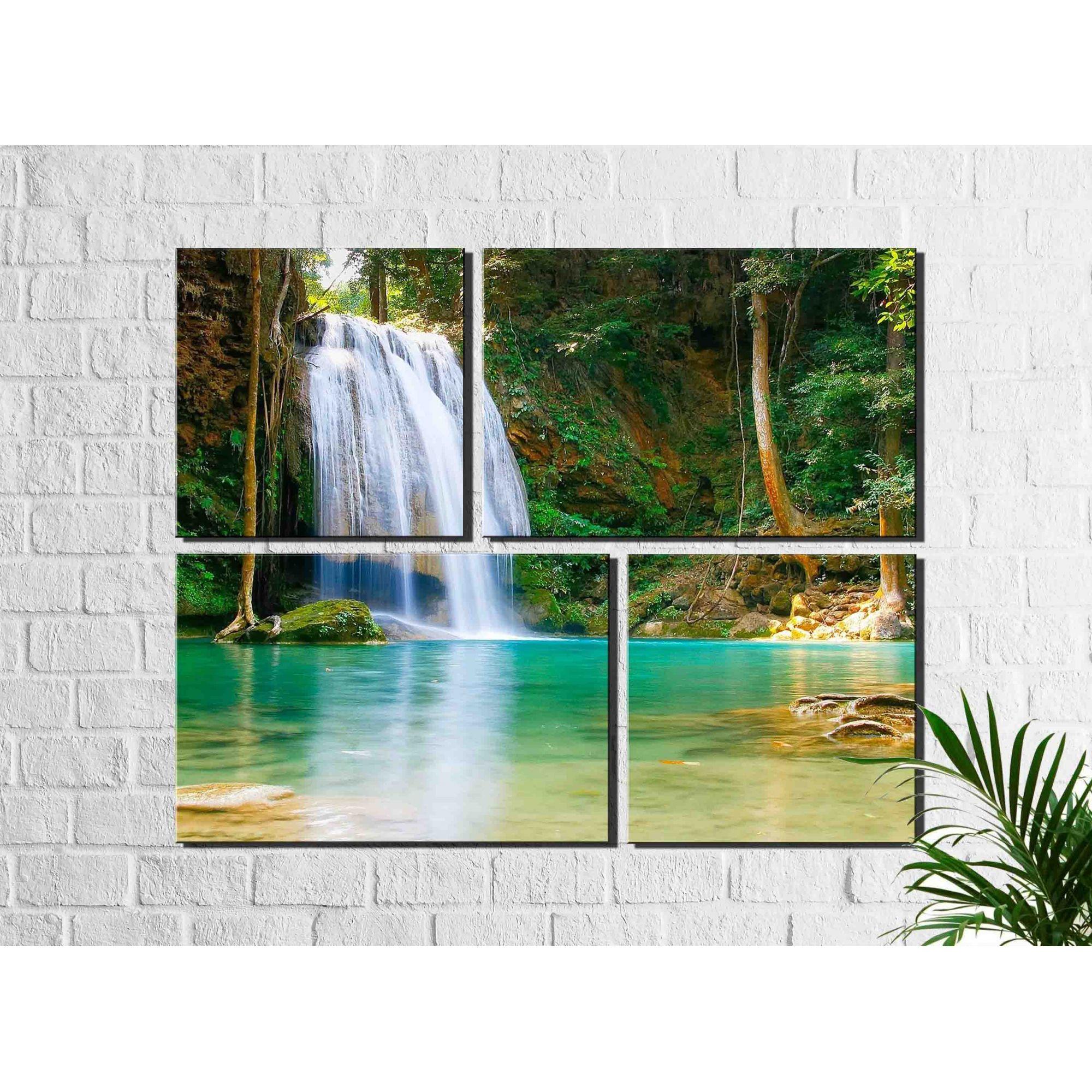 4 Quadros Decorativos Paisagem Cachoeira