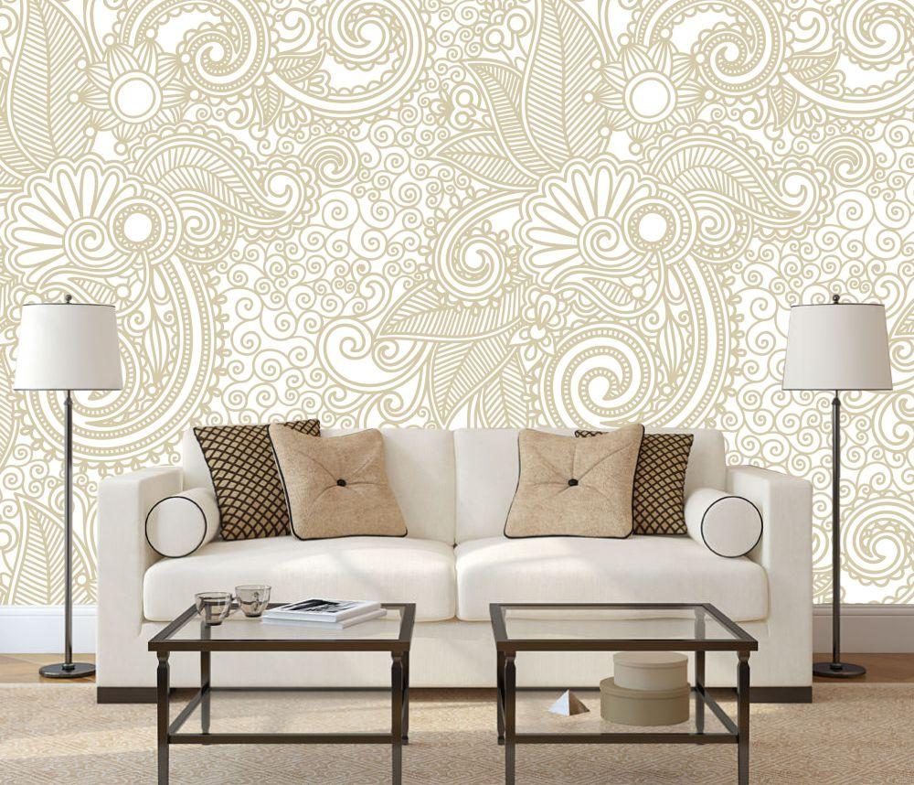 Papel De Parede Quadros Decorativos Adesivos E Papel De Parede  -> Papel De Parede Sala Floral