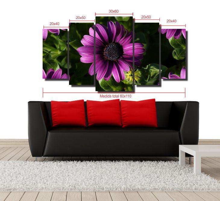 KIt 5 Quadros Decorativos Flor
