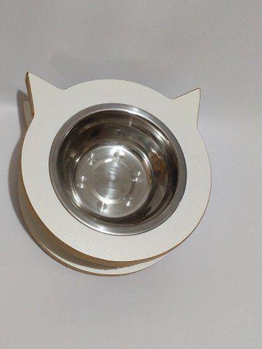Comedouro para gato  MDF branco Tigela de inox