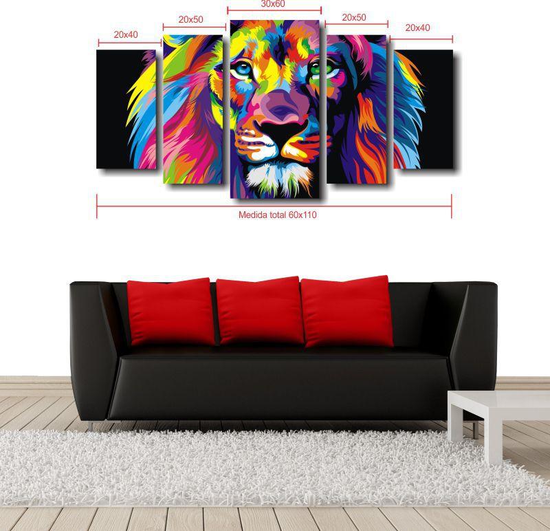 Quadro Decorativo Leão Moderno Para Sala 5 peças