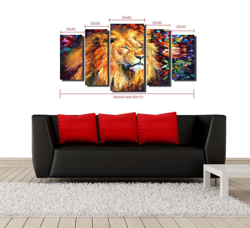 Quadro Decorativo Leão  Para Sala 5 peças