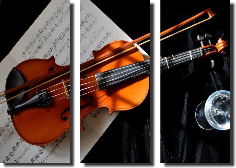 Quadro  Decorativo Violino 3 Peças Para Sala