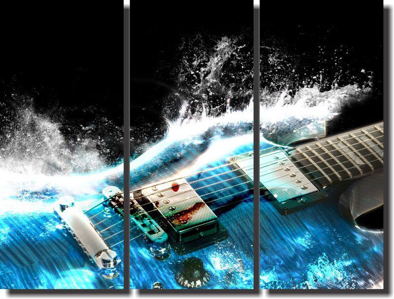 Quadro Decorativo Guitarra Azul  3 Peças Para Sala