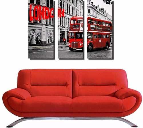 Quadro Decorativo Ônibus London Vermelho 3 Peças Sala