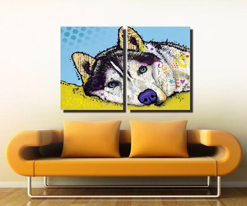 Quadro Cachorro Colorido 2 Peças Para Sala