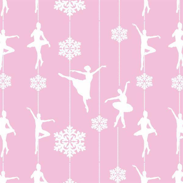 Papel Parede Bailarina Rosa com Branco Menina