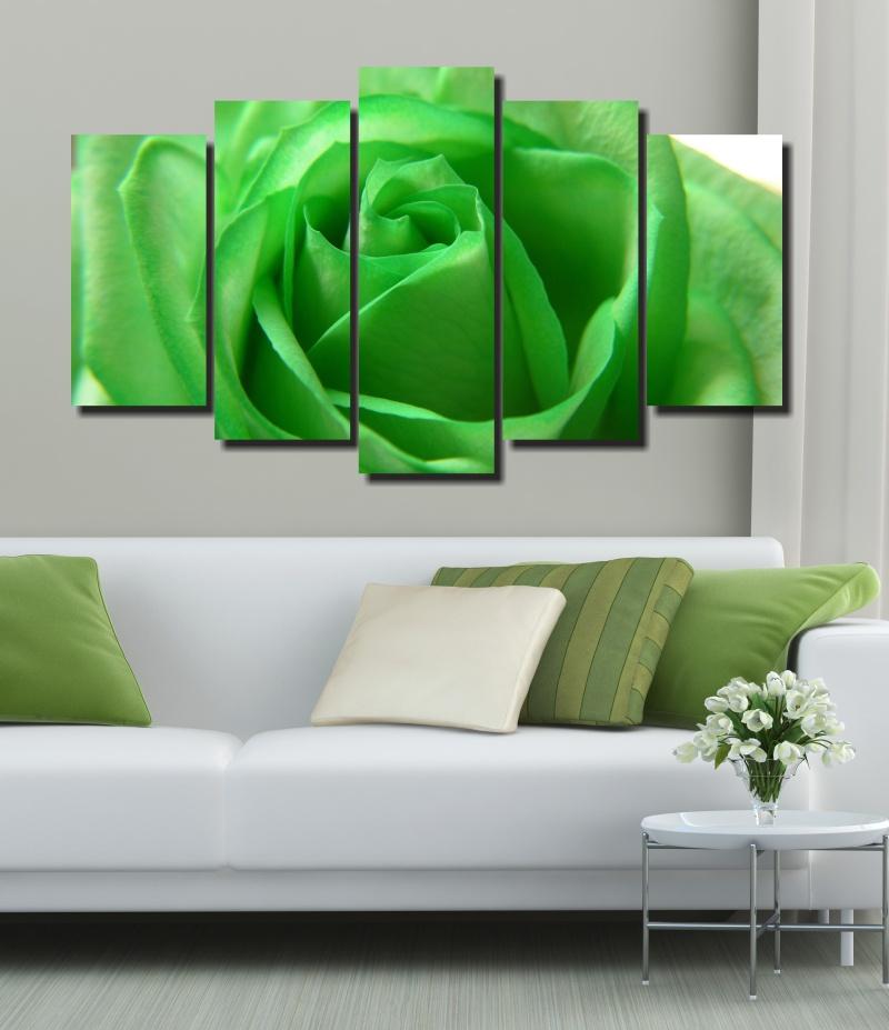 Quadro Decorativo Flor Verde 5 Peças Para Sala e Quarto