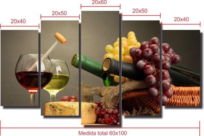 Quadro Decorativo Vinho Queijo e Uva 5 Peças Para Sala