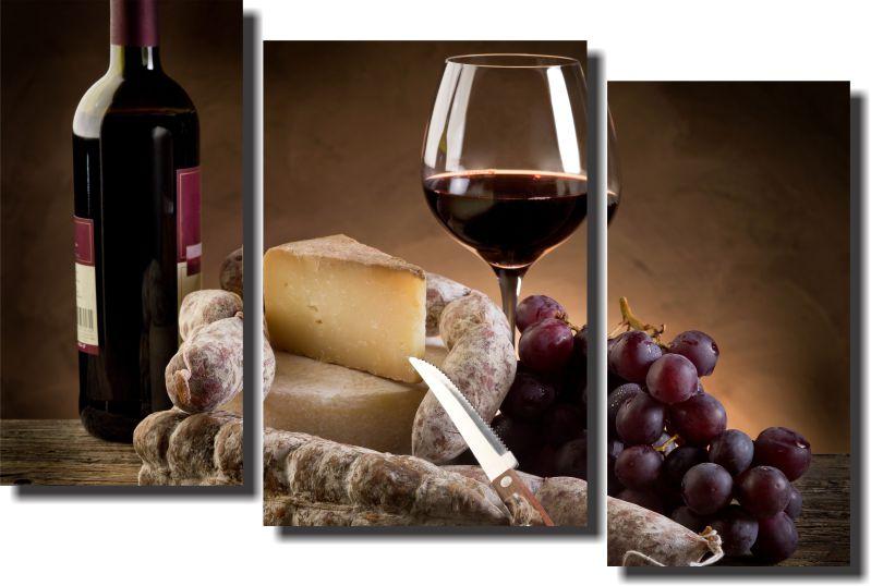 Quadro Decorativo Vinho Queijo e Salame 3 Peças , Sala