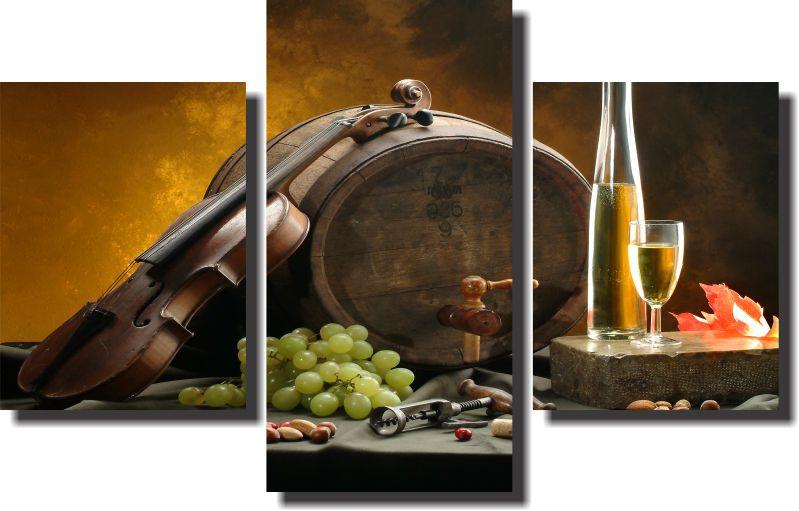 Quadro Decorativo Violino Adega e Azeite 3 Peças ,Sala