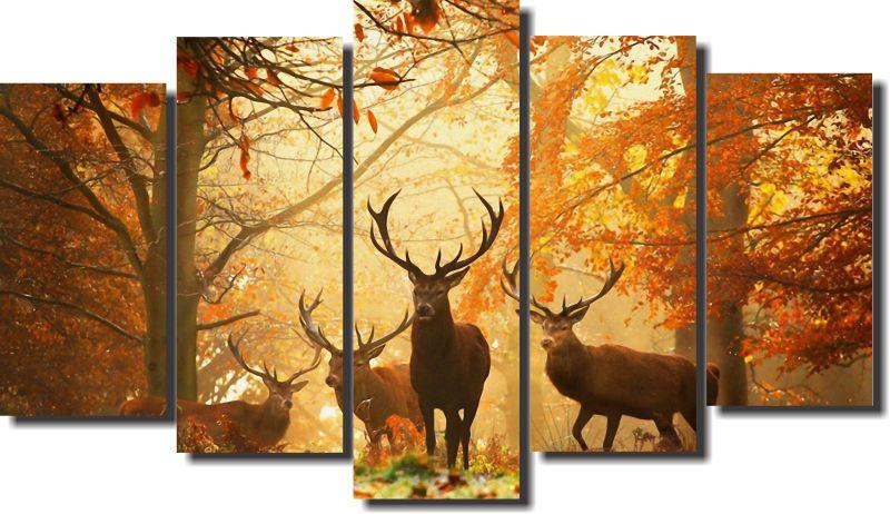 Quadro Decorativo Paisagem cervo 5 Peças para Sala