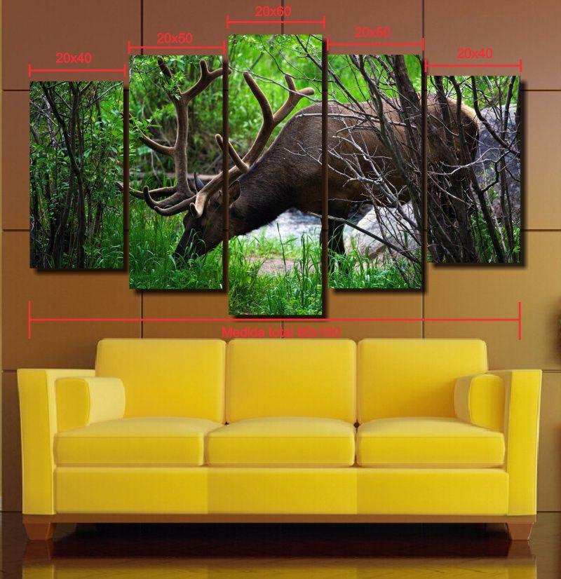 Quadro Decorativo Paisagem cervo 5 Peças Para Sala m5