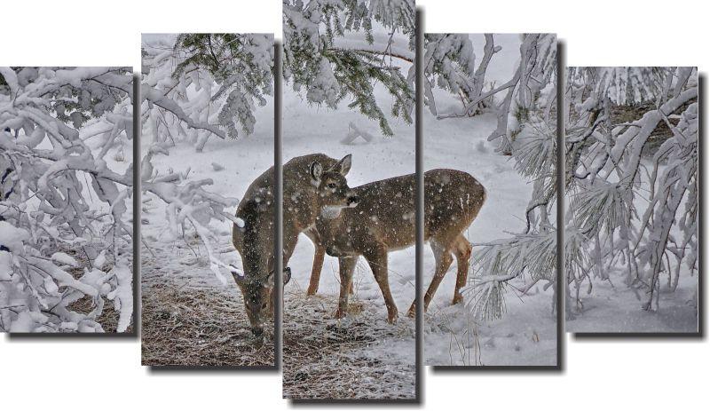 Quadro Decorativo Paisagem Cervos 5 Peças Para Sala m9