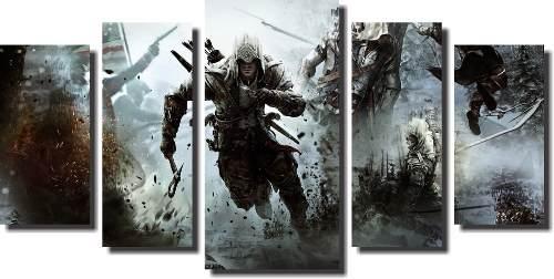Quadro Decorativo Assassin's Creed 5 Peças Para Sala ,quarto