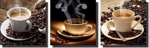 Quadros Xicara De Café Com Grão 3 Peças Para Sala De Jantar
