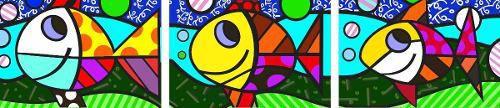 Quadro peixe decoração Romero Britto