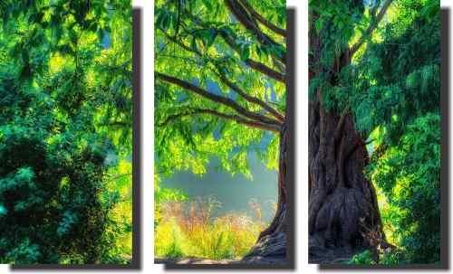 Quadro Decorativo Arvore Verde 3 Peças Para Sala Ou Quarto