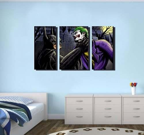 Quadro Decorativo Batman , Coringa 3 Peças Para Sala ,quarto