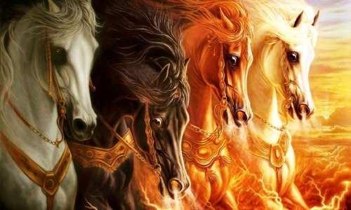 Quadro Decorativo Abstratos Cavalos Para Sala E Quarto