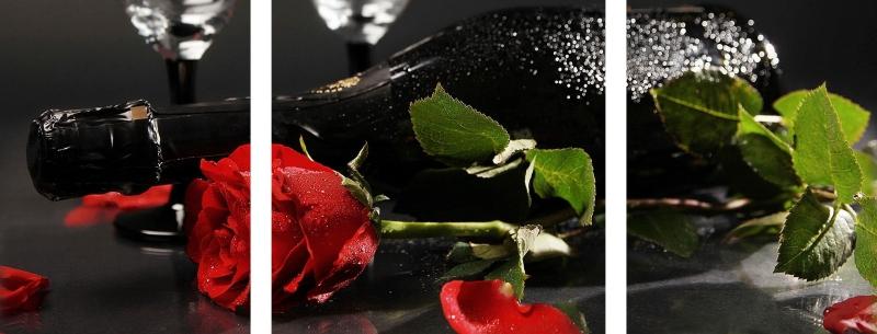 Quadro Decorativo Flor Rosa e Vinho 3 Peças Para Sala de Estar