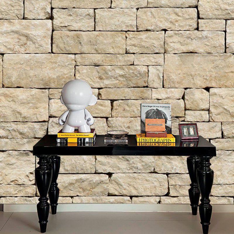Papel De Parede Pedra, Filetes e Madeira Rolo 3,00 x 0,60