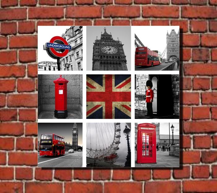 quadro decorativo Londres colagem viagem mosaico