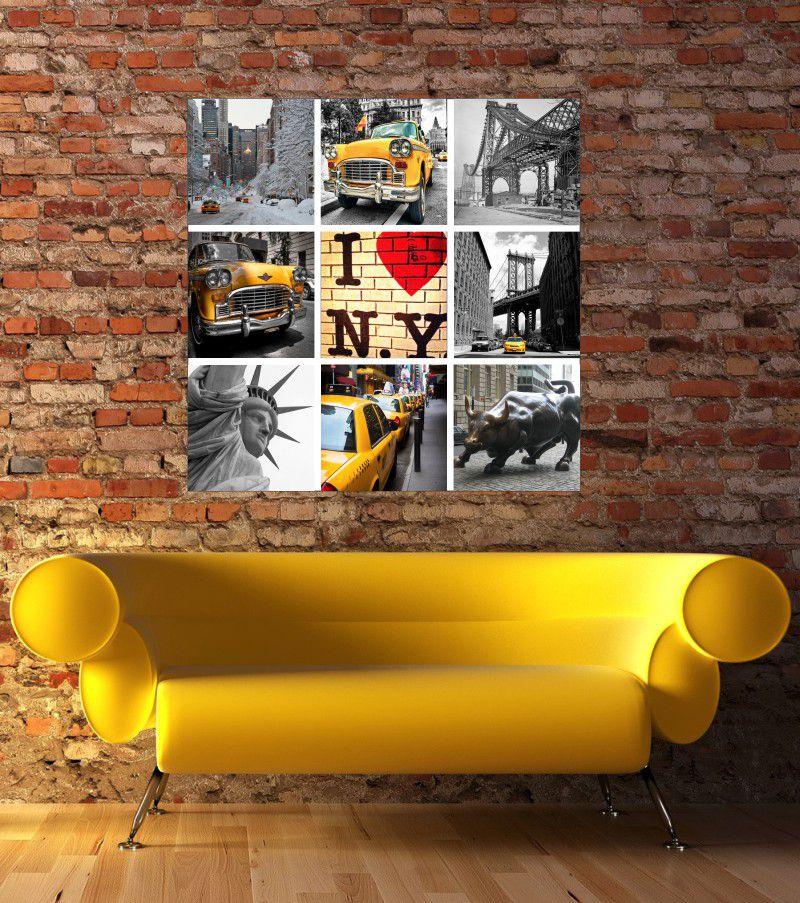 Quadro Decorativo Nova York Colagem Viagem Mosaico