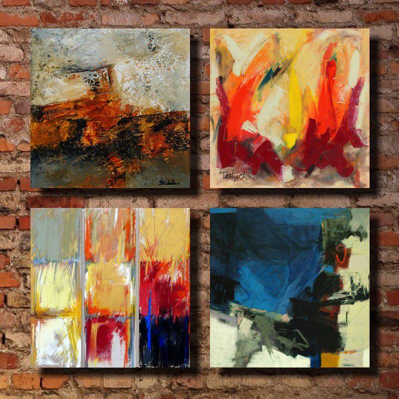 Quadro Decorativo Abstrato 4 Peças Em Tecido Canvas