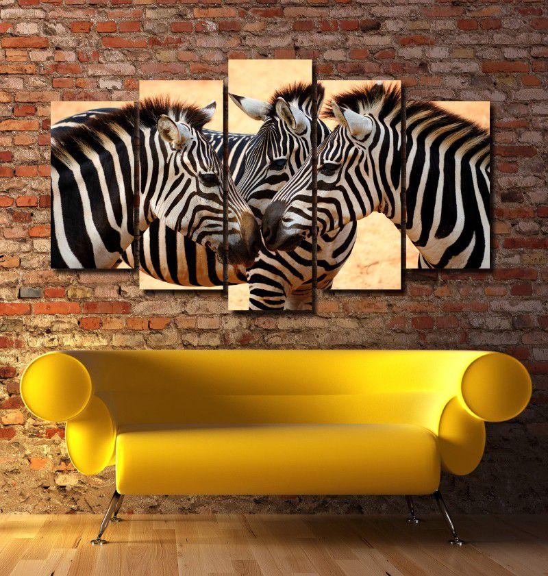 Quadro Decorativo Paisagem Zebra 5 peças Para Sala