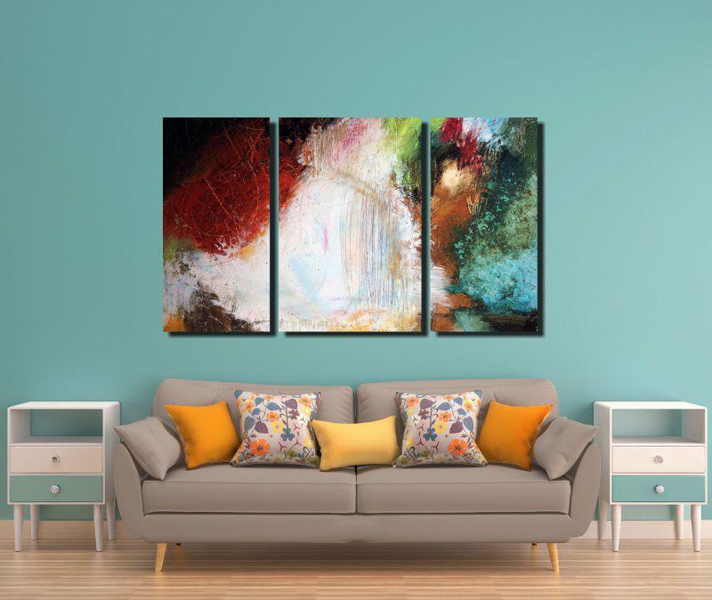 Quadro Decorativo Abstrato Em 3 Peças  Para Sala ou Quarto