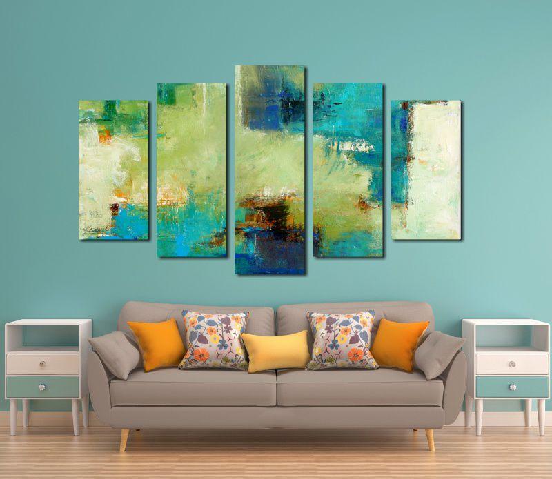 Quadro Decorativo Abstrato 5 Peças Para Sala ou Quarto