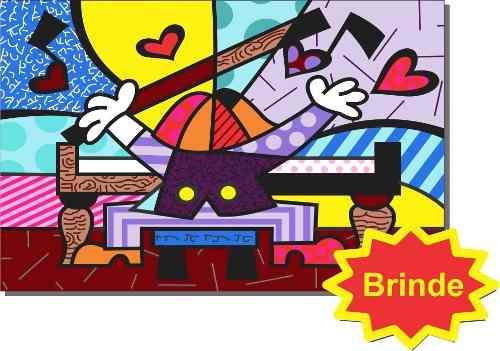 Quadro Romero Britto the Hug brinde e o pianista