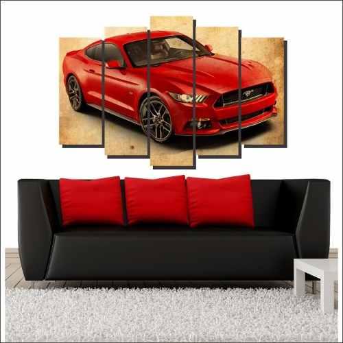 Quadro Decorativo Mustang  Vintage Vermelho 5 Peças Para Sala