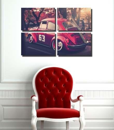Quadro Decorativo Volkswagen Fusca Vermelho 4 Peças sala