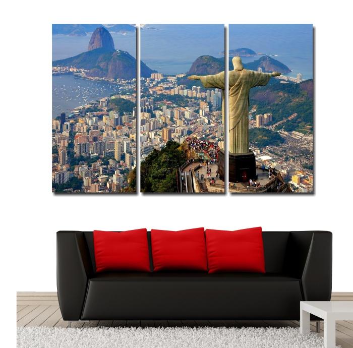 Quadro Decorativo Cristo Redentor Rio de Janeiro 3 peças  canvas  fine arte