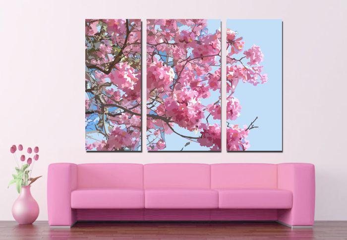 Quadro Decorativo Ipê Rosa em tecido canvas tela