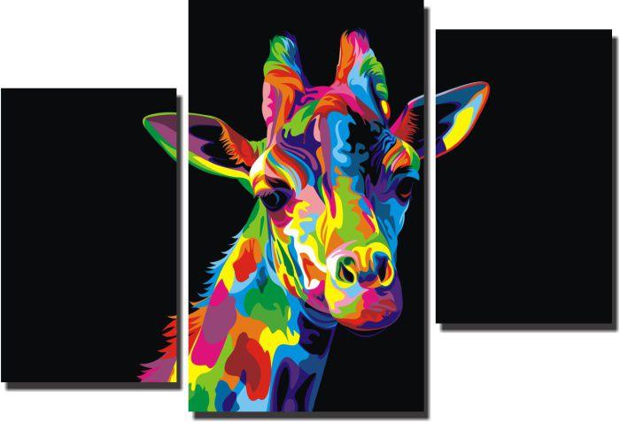 Quadro Decorativo Girafa  canvas tecido  3 peças