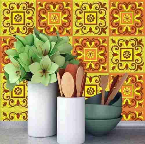 Adesivo De Parede Para Cozinha Azulejos Hidráulico Amarelo