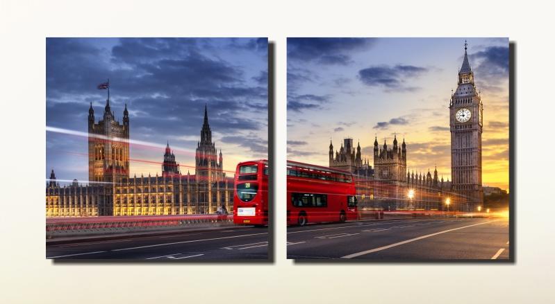 Quadro Ônibus Londres  Vermelho 2  Peças Sala