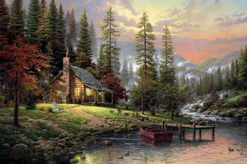 Quadro Decorativo Paisagem lago em tela