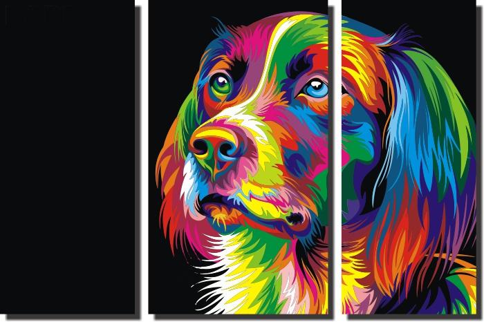 Quadro Cachorro Abstrato colorido moderno