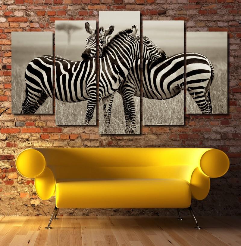 Quadro Decorativo casal Zebra 5 peças Para Sala