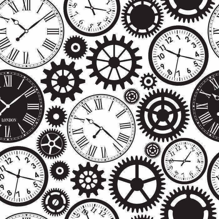 Papel De Parede Relógio e Engrenagens para Sala/Escritório