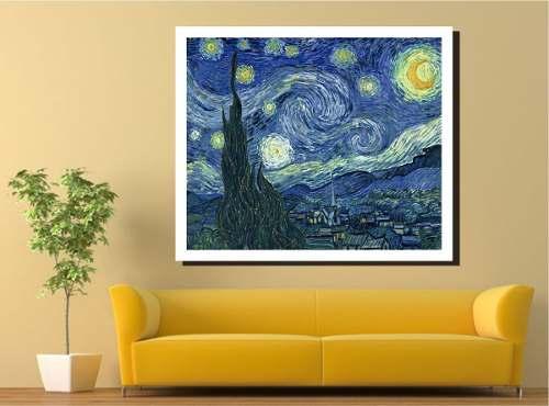 Quadro A Noite Estrelada Van Gogh 80x100 Em Canvas