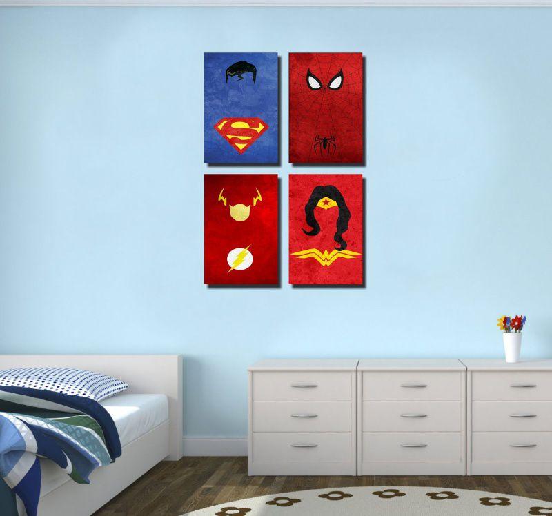 Kit 4 Quadros Super Heroes  M1