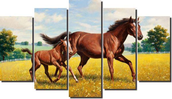 quadro cavalo com filhote  para decoração kit 5 peças